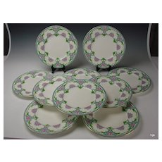c1890 English Minton Enameled Porcelain Dinner Plate Set of 10