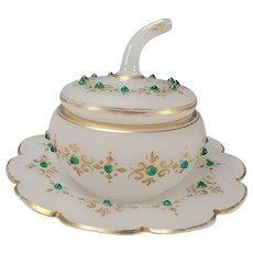 Antique Bohemian Jeweled Opaline Satin Glass Lidded Jar or Box
