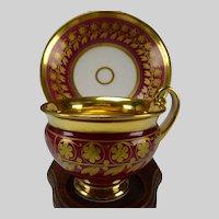Antique Old Paris Fine Empire Gilt Porcelain Cup and Saucer
