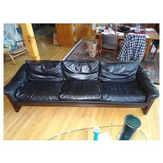 LARGE Milo Baughman Leather and Rosewood Sofa Couch