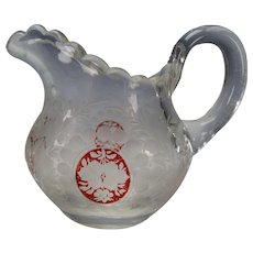 Antique Bohemian Signed TC Etched Glass Jug Ruby Stained