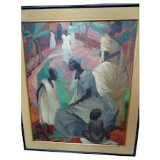 Signed Mid Century Modern Haitian Oil on Canvas Painting