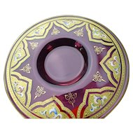 Moser Antique Cranberry Enameled Glass Plate Saucer