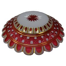 BEST Moser Double Overlay Cut Cranberry Glass Plate