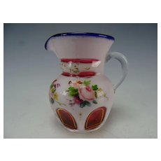 Antique Miniature Double Cased Enamel Cut to Cranberry Glass Pitcher Jug