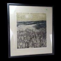 Vintage Charles Bartlett Sand Dunes Etching Signed Listed