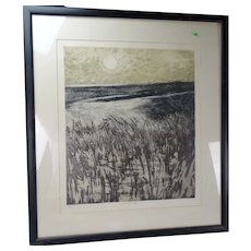 Vintage Charles Bartlett Sand Dunes Etching Signed Listed