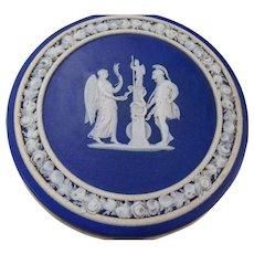 Antique English 19c Wedgwood Jasperware Round Trinket Jewelry Box