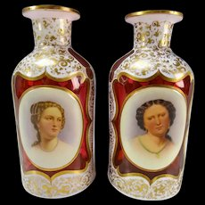 19c Moser Cranberry Overlay Hand Painted Portrait Perfume Bottle Pair
