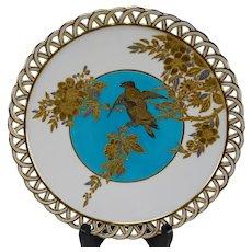 Minton Aesthetic Gilt Japanesque Blackbird Prunus Plate