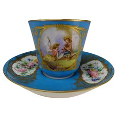 Antique Sevres Style Porcelain Hand Painted Cup and Saucer 19c