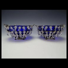 Great 19c Antique Bohemian Czech Cobalt Blue Bowl Table Mantle Lusters Prisms