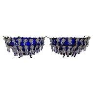 Great 19c Antique Bohemian Czech Cobalt Blue Bowl Table Mantle Lusters Prisms
