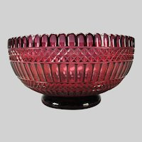 Antique Russian Imperial Deep Amethyst Cut to Cranberry Glass Bowl c1850