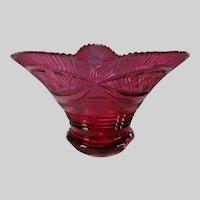 c1825 Bohemian Biedermeier Cased Cranberry Cut Glass Vase or Bowl