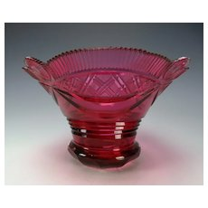Antique Bohemian Cranberry Cut Glass Bowl c1820s