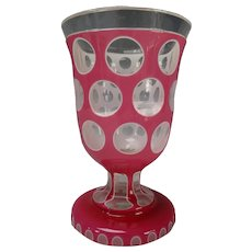 Antique Bohemian Pink Opaline Double Overlay Punty Cut Back Beaker Vase