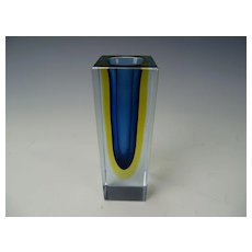 Vintage Flavio Poli Seguso Sommerso Geode Cased Glass Vase