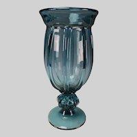 Vintage Pillar Molded Art Glass Vase Hand Blown