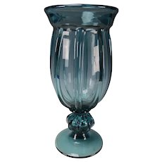 Vintage Pillar Molded Art Glass Vase Hand Blown