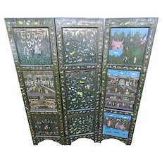 c1915 Indian Hand Painted Enamel Floor or Folding Wood Screen