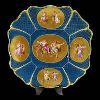 Antique c1850 Royal Vienna Gilt Enameled Bacchus Charger