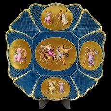 Antique c1850 Royal Vienna Gilt Enameled Bacchus Charger