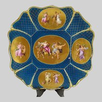 Antique c1850 Vienna Porcelain Gilt Enameled Hand Painted Bacchus Charger