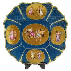 Antique c1860 Royal Vienna Gilt Enameled Bacchus Charger