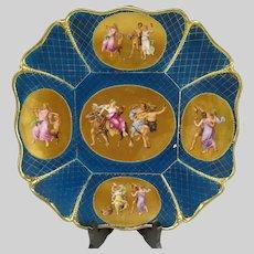 Antique c1860 Vienna Porcelain Gilt Enameled Hand Painted Bacchus Charger