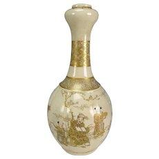Meiji Japanese Satsuma Hand Enameled Gourd Pottery Vase