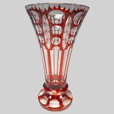 c1920 Czech Bohemian Ruby Cased Overlay Cut Glass Vase Haida