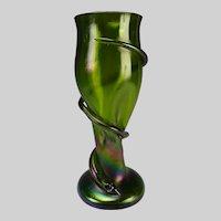 """13"""" Antique Loetz Iridescent Art Glass Snake Vase"""