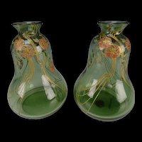 Art Nouveau Bohemian Poschinger Enameled Jugendstil Glass Vase Pair c1900