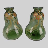 Art Nouveau Bohemian Poschinger Enameled Jugendstil Glass Vase Pair c1900