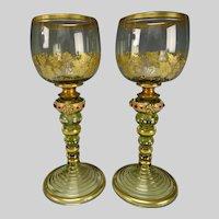 Antique Moser Enameled & Jeweled Wine Glass Stem Pair