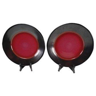 Vintage Heath Ceramics Sausalito Raspberry Black Rim Dinner Plates