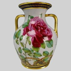Antique Spode Copeland China Hand Painted Roses Vase c1875 GEM