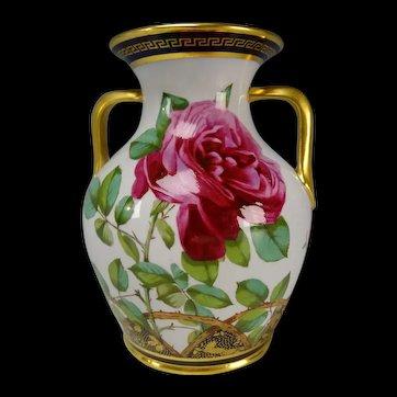 Antique Spode Copeland China Hand Painted Roses Vase c1875 GEM