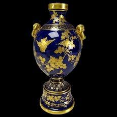 Aesthetic Epiag Czech Fine Porcelain Cobalt Blue Vase with Hand Painted Gilt