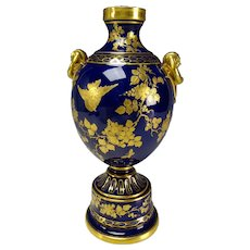 Aesthetic Epiag Czech Fine Porcelain Cobalt Blue Vase with Hand Painted Gilt