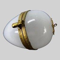 Antique French Opaline Palais Royal Glass Chatelaine Egg Box Case