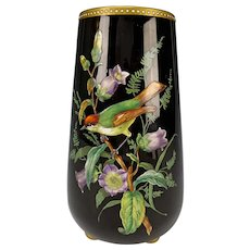 Antique Thomas Webb Enameled Black Amethyst Glass Vase c1875