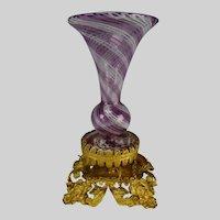 Antique French Latticino Swirled Mounted Ormolu Glass Vase c1850