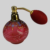 Antique Bohemian Cut and Enameled Glass Atomizer Perfume Bottle c1910
