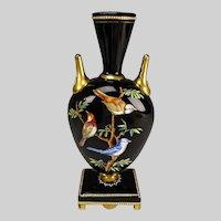 Antique Thomas Webb Hand Painted Enamels on a Black Glass Vase