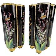Victorian Thomas Webb Unusual Lobed Hand Painted Glass Vases