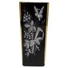 Victorian Bohemian or Webb Mary Gregory Enamel Black Glass Vase