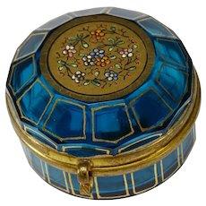 Antique Moser Bohemian Sapphire Blue Enameled & Gilt Pill Box
