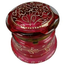 Antique Bohemian Hand Enameled Art Glass Dresser Vanity Box
